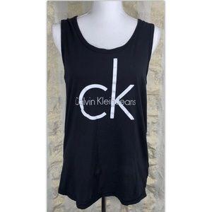 Calvin Klein Jeans Sz Medium M Top Black Tank Logo